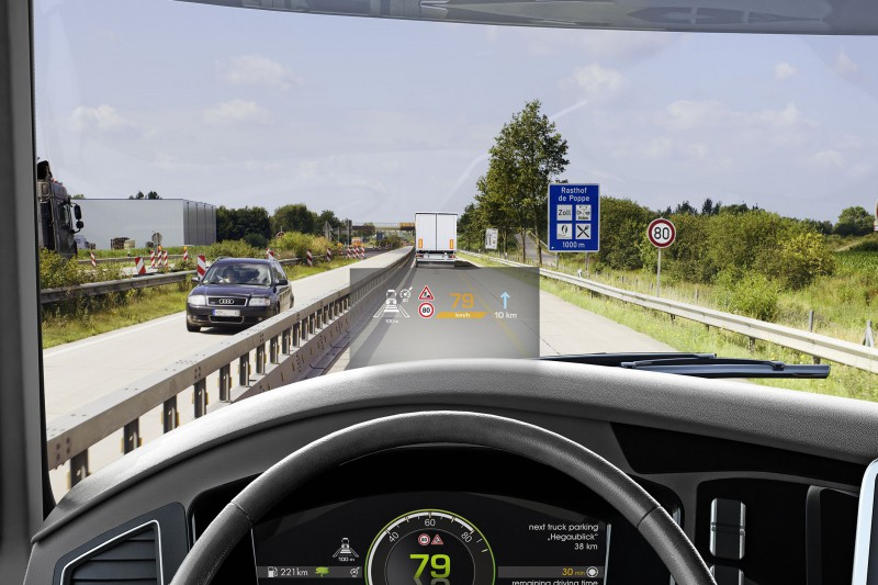 Head up display de Continental para camiones